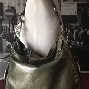 Coach Zoe Green Patent Leather Shoulder Tote